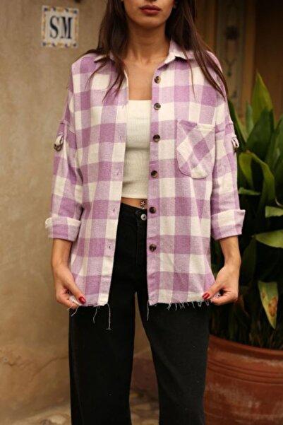 Femme Butik Kadın Lila Ekoseli Oduncu Gömlek Fm2126