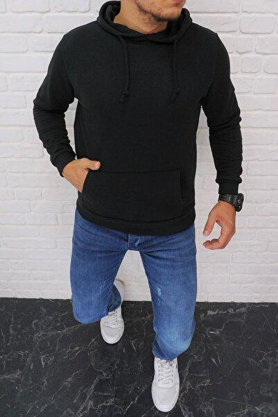 DYNAMO Erkek Siyah Kapüşonlu Kanguru Cepli Kamuflaj Şardonlu Kışlık Sweatshirt 6623