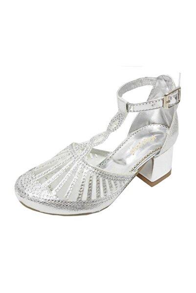 JENA Kız Çocuk Gümüş Topuklu Abiye Filet Ayakkabı 5002