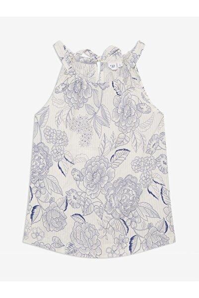 GAP Kadın Beyaz Desenli Kolsuz Bluz