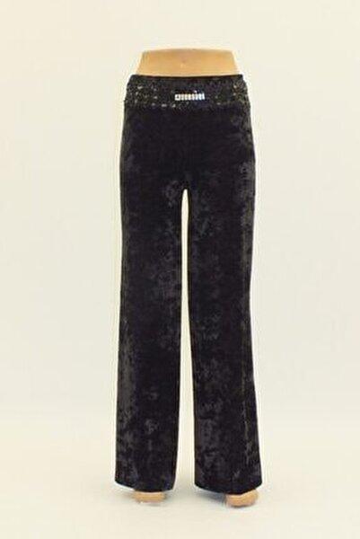 Kadın Siyah Kadife Geniş Paça Yüksek Bel Pantolon