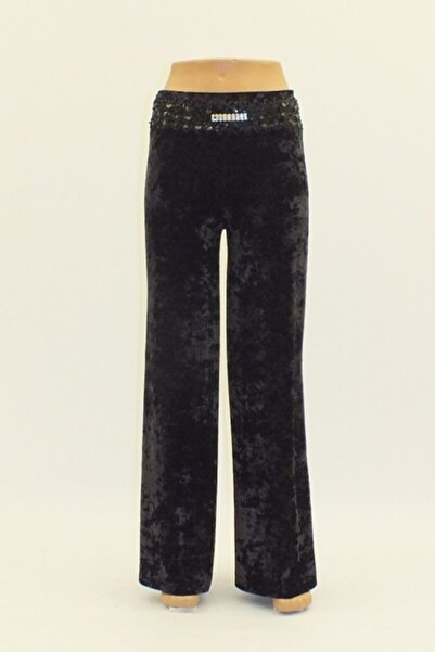 Otto Kadın Siyah Kadife Geniş Paça Yüksek Bel Pantolon