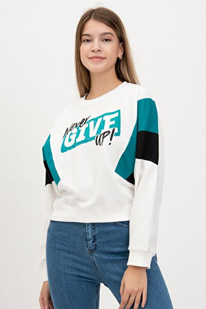 Mossta Kadın Yeşil Give Up Baskılı Sweatshirt