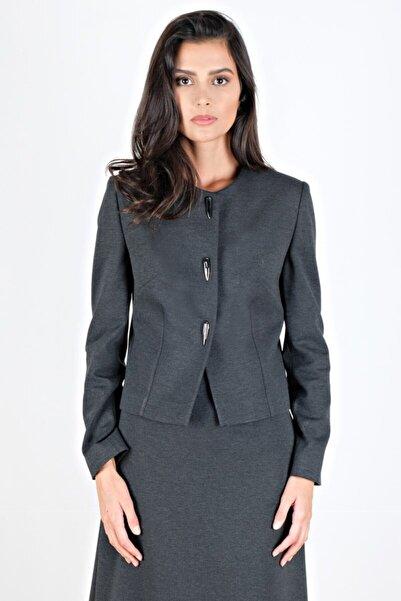 Spazio Kadın Antrasit Janae Yakasız Düğmeli Ceket 10091323