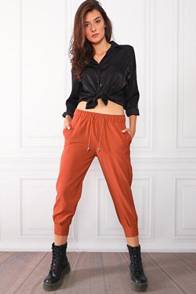 PodiumStar Bakır Rahat Kesim Paçası Pileli Pantolon