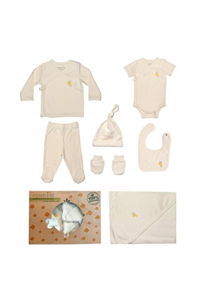 OrganicKid %100 Organik Pamuk Bebek Yenidoğan Hastane Çıkışı 7'li Set / Safari (küçük Nakış) 10016-019