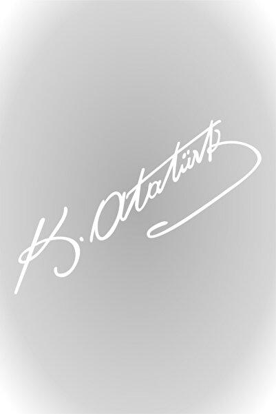 Quart Aksesuar Beyaz 30 Cm Kemal Atatürk Imza Sticker Araba, Oto Araç Sticker