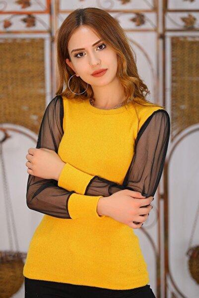 Haydigiy Kolları Tül Bluz Sarı - 4505.716. - Y.s