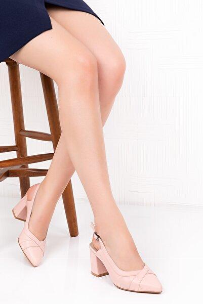 Gondol Kadın Pembe Hakiki Deri Topuklu Ayakkabı