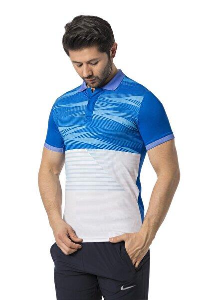 Crozwise Erkek Mavi Polyester Mesh Polo Yaka T-shirt
