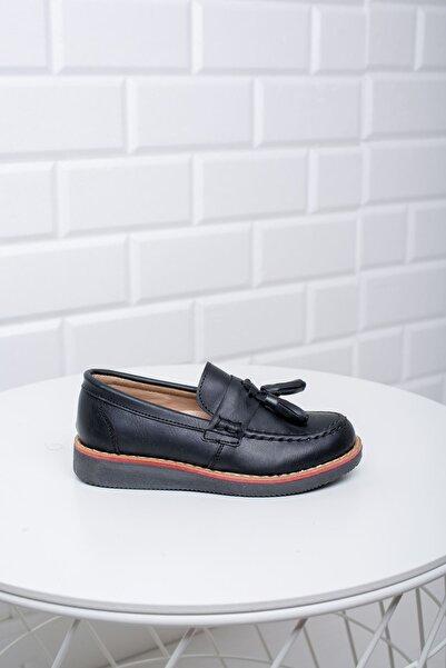 epaavm Erkek Çocuk Siyah Termo Taban Püsküllü Ortopedik Loafer Ayakkabı
