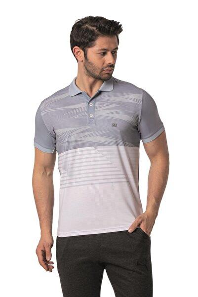 Crozwise Erkek Gri Polyester Mesh Polo Yaka T-shirt