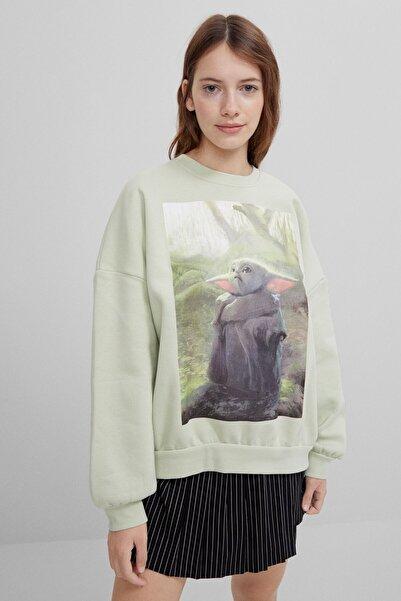 Bershka Kadın Yeşil Mandalorian Sweatshirt