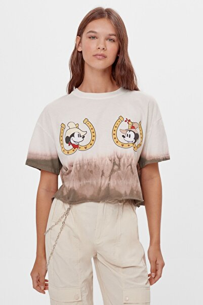 Bershka Kadın Beyaz Batik Desenli Mickey T-shirt