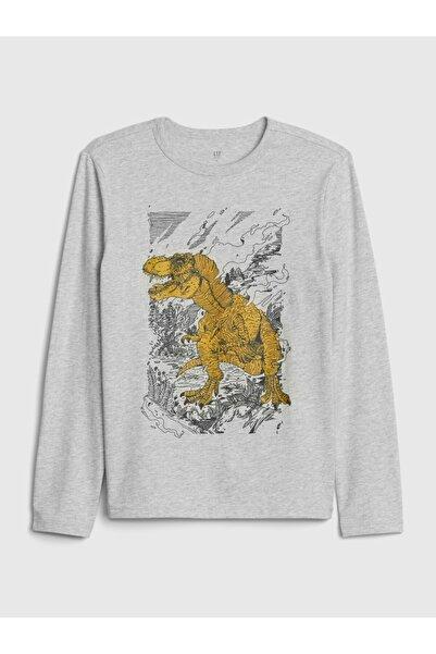 GAP Erkek Çocuk Gri Uzun Kollu Grafik T-shirt