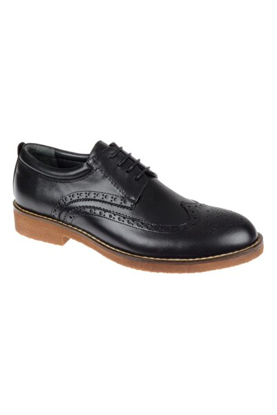 Friendly Erkek Siyah Hakiki Deri Günlük Ayakkabı Z-04
