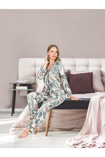 İpeksi Düğmeli Uzun Kollu Pijama Takımı