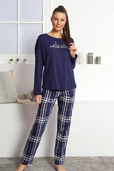 VİENETTA Kadın Indıgo  Uzun Kol Pamuklu Pijama Takım