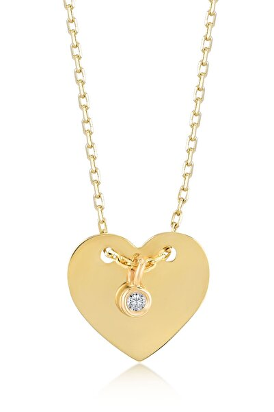 Gelin Pırlanta Kadın Altın 14 Ayar Klasik Pırlantalı Kalp Kolye