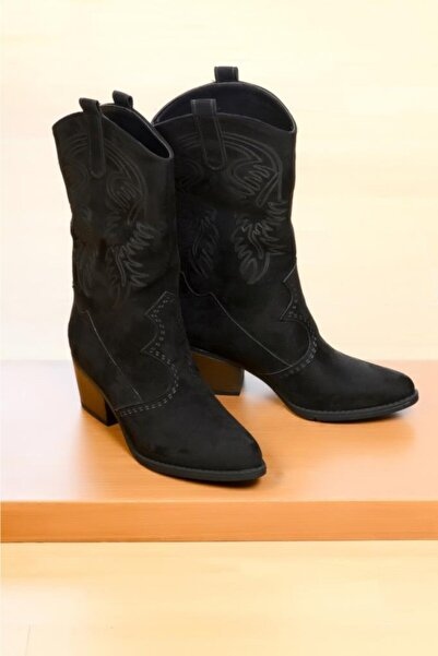 ROYJONES Kadın Siyah Çizme Modelleri Kovboy Bot 100