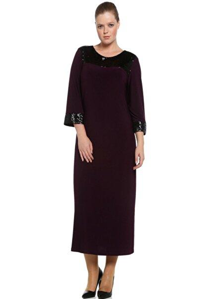 Nidya Moda Büyük Beden Mürdüm Roba Manşet Pullu Payet Abiye Elbise-4056m