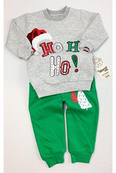 Baby Doss Christmas Noel Baba Temalı Yılbaşı Bebek Takım Ho Ho Ho Yazılı Gri Yeşil Unisex