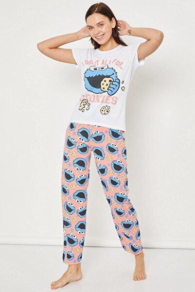 Arma Life Baskılı Pijama Takımı Mavi Kurabiye Canavarı