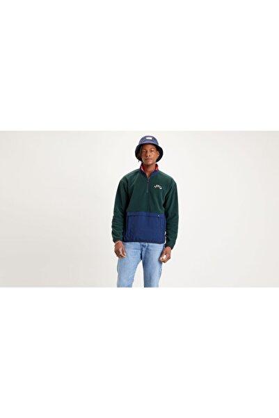 Levi's Erkek Yeşil Quarter Zıp Polar Fleece Varsıty Color Sweatshirt
