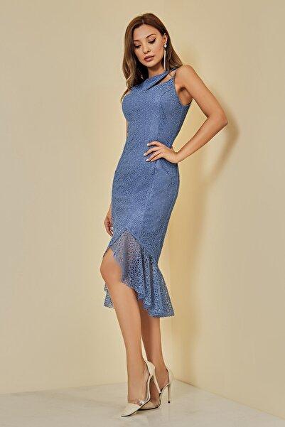 Sateen Kadın Mavi Volanlı Dantel Abiye Elbise