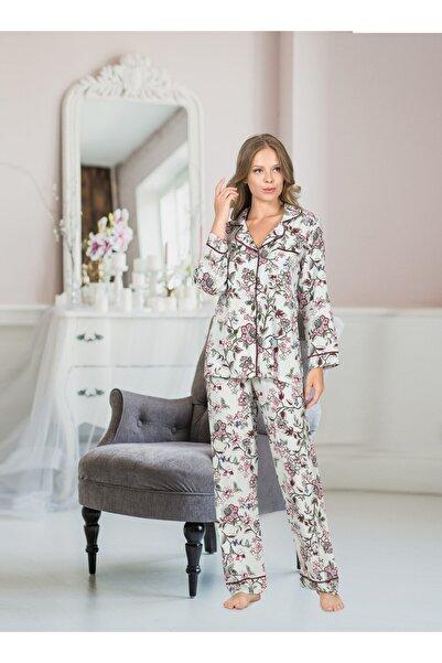 İpeksi Kadın Düğmeli Uzun Kollu Pijama Takımı