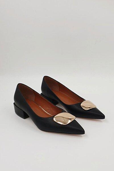 Marjin Kadın Siyah Linva Günlük Klasik Topuklu Ayakkabı