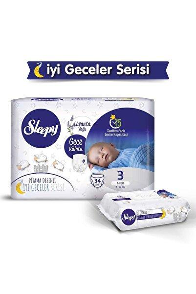 Sleepy Gece Külotu Lavanta Yağlı 3 Numara Midi 34 Adet+lavanta Yağlı Masaj Ve Temizlik Havlusu 40 Yaprak