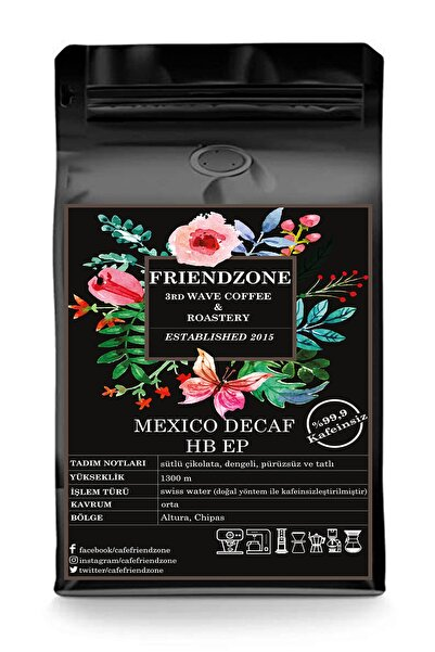 Cafe Friendzone 3rd Wave Coffee & Roastery Meksika Decaf ( Kafeinsiz ) Çekirdek Kahve %100 Arabica 250 Gr