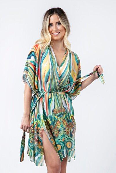 We Concept Kadın Yeşil Desenli Kimono Pareo