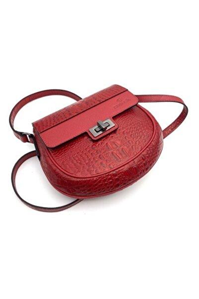 Eminsa Kırmızı Renk Kroko Deri Omuz Çantası