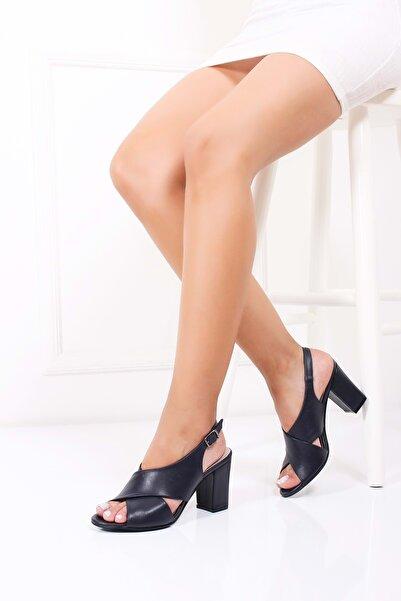Gondol Kadın Lacivert Hakiki Deri Topuklu Ayakkabı 37 Şhn.0100-2