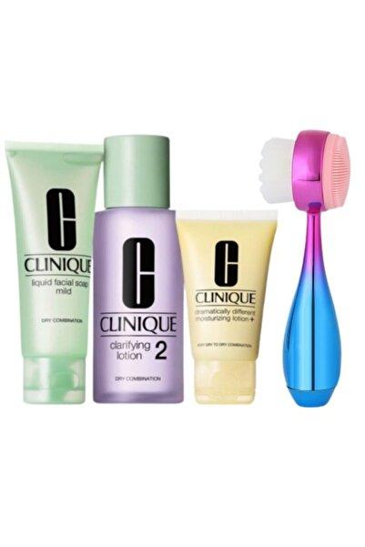 Clinique 3 Adımlı Cilt Bakım Kiti Cilt Tipi 2 + Yüz Temizleme Fırçası