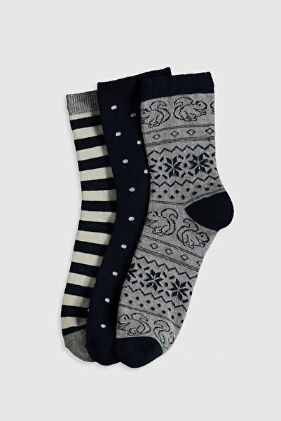 LC Waikiki Kadın Gri Melanj Soket Çorap 0WI370Z8