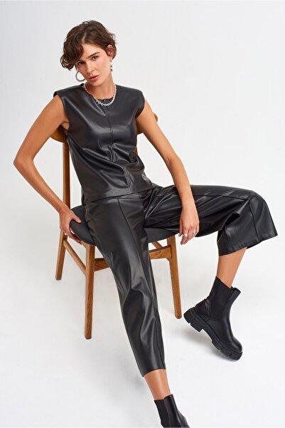 Dilvin Kadın Siyah Bol Paça Deri Pantolon 7746