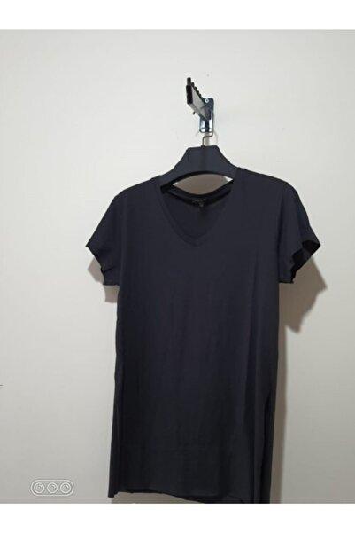 River Island Kadın Siyah V Yaka Yandan Yırtmaçlı Basic T-Shirt
