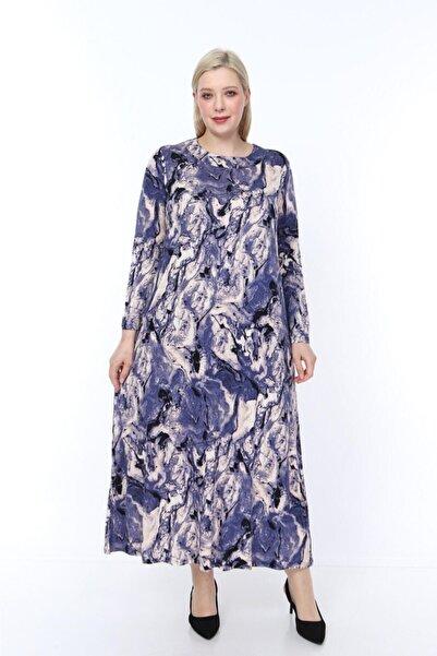 ŞENZADE Kadın Mor Viskon Kumaş Baskı Desen Büyük Beden Elbise