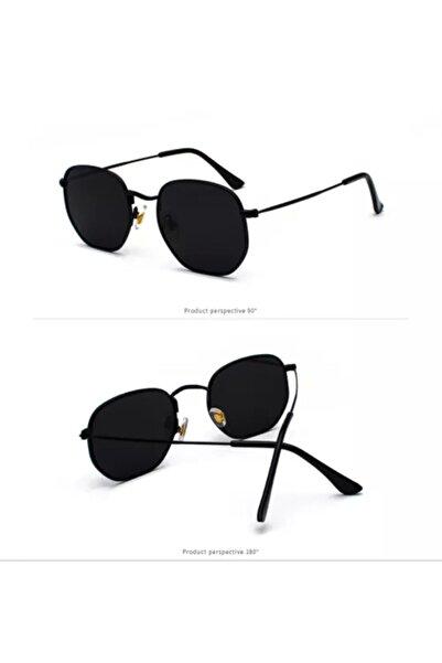Kinary Güneş Gözlüğü Beşgen Modeli Siyah Cam Siyah Çerçeveli Gözlük Kaliteli Ürün