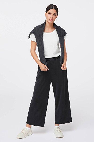 Oysho Kadın Siyah Mesajlı Elastik Şeritli Culotte Pantolon