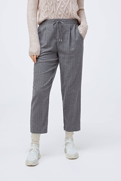 Oysho Kadın Gri %100 Pamuklu Ince Çizgili Pantolon