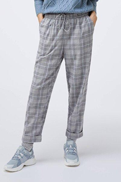 Oysho Kadın Gri Pamuklu Gri Kareli Pantolon