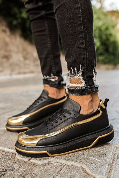 Chekich Ch041 St Erkek Siyah Altın Ayakkabı