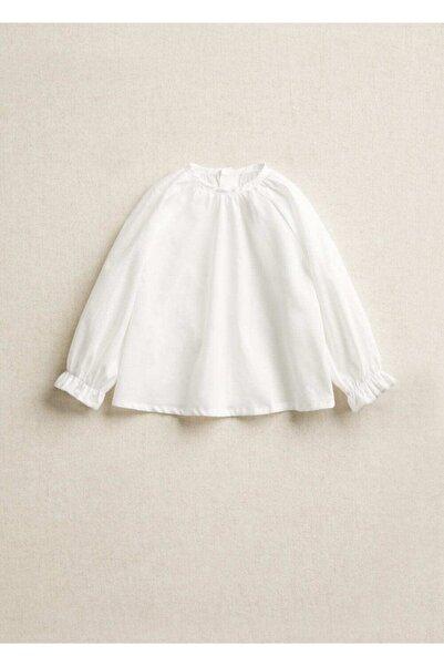 MANGO Baby Kız Bebek Beyaz Organik Pamuklu Gömlek