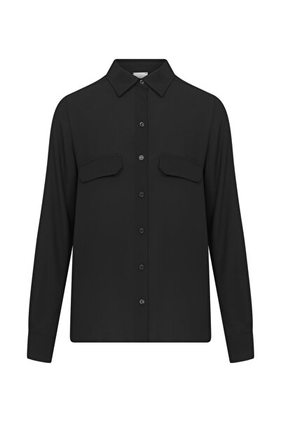 W Collection Kadın Siyah Cep Detaylı Gömlek