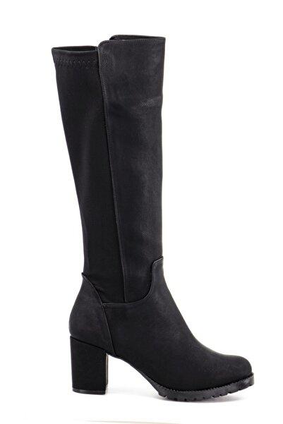 Stil Durağı Kadın Siyah 5 cm Topuklu Kalin Taban Sihirli Çizme