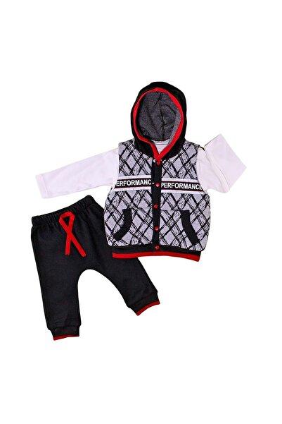 Babyboy Erkek Bebek Kırmızı Reflektörlü Yelekli Elyaflı 3lü Takım